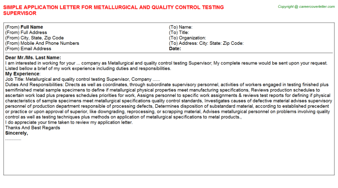Metallurgical And Quality Control Testing Supervisor ...