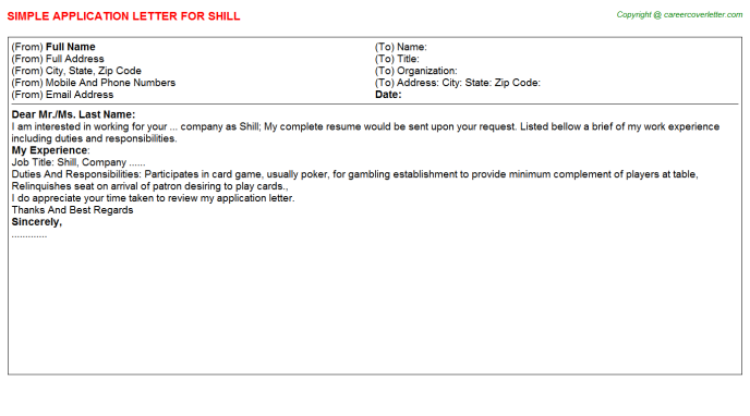 Shill Application Letter Template