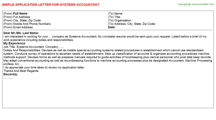 Systems Accountant Application Letter Template