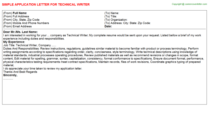 Technical Writer Application Letter Template