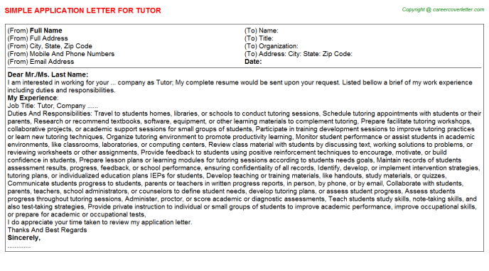 Tutor Job Application Letter Template