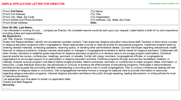 Director Job Application Letter Template