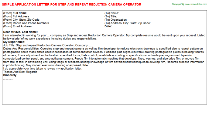 Step And Repeat Reduction Camera Operator Application Letter Template