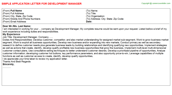 Development Manager Application Letter Template