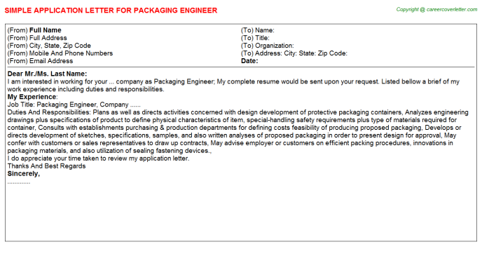 Packaging Engineer Job Application Letter Template