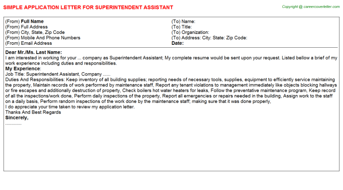Superintendent Assistant Application Letter Template