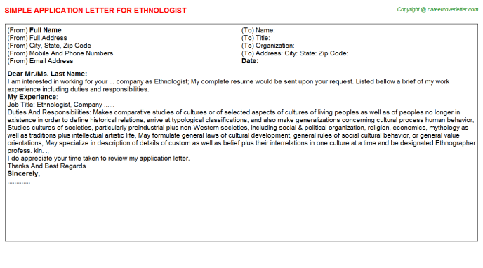 Ethnologist Job Application Letter Template