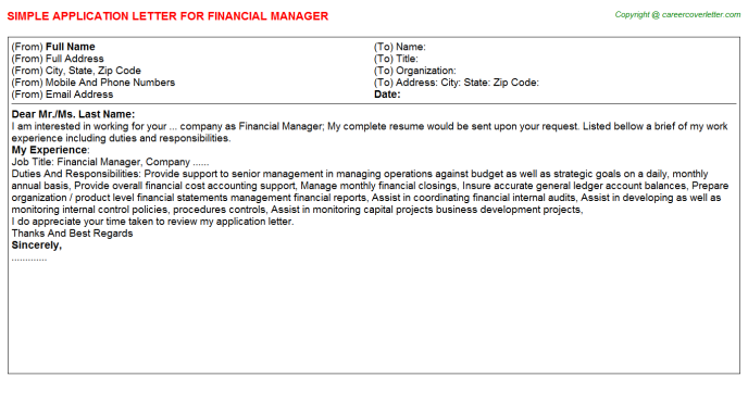 Financial Manager Application Letter Template
