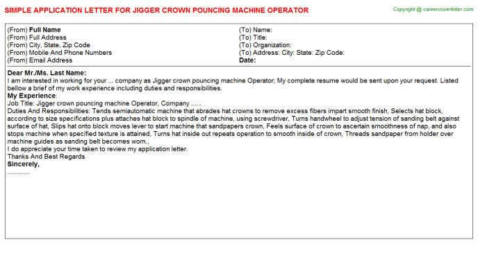 Jigger Crown Pouncing Machine Operator Application Letter Template
