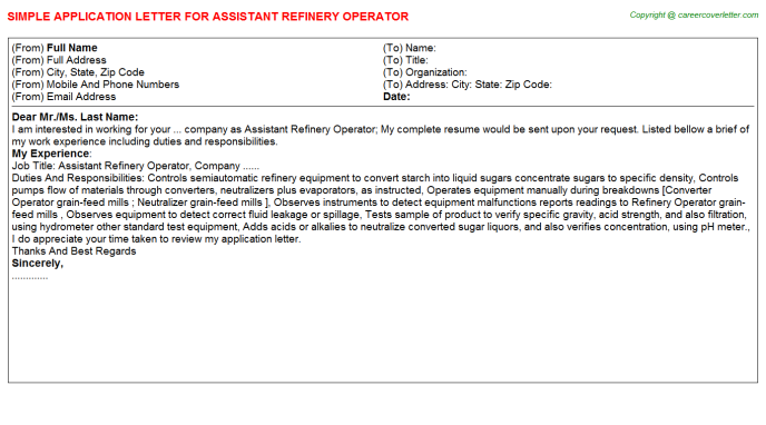 assistant refinery operator application letter template