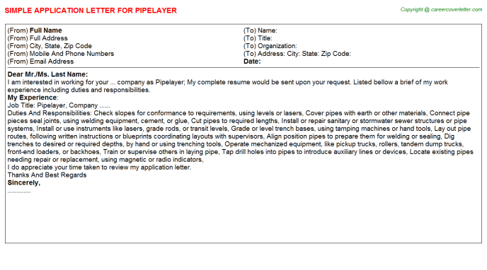 Pipelayer Application Letter Template