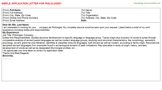 Philologist Application Letter Template