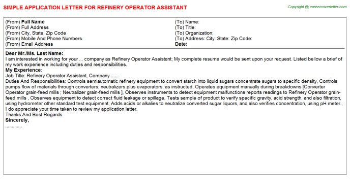 Refinery Operator Assistant Application Letter Template
