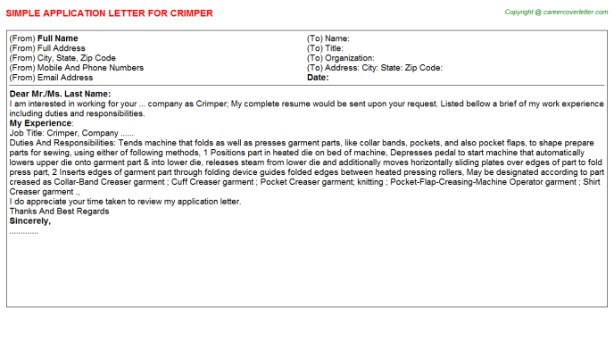 Crimper Job Application Letter Template