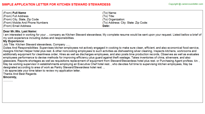 Kitchen Steward Stewardess Application Letter Template