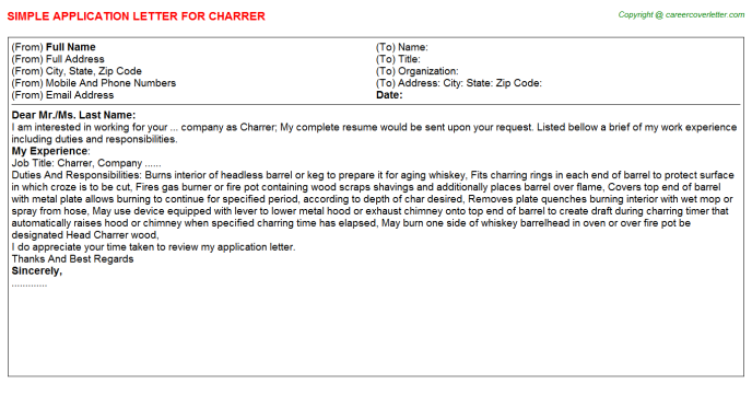 Charrer Application Letter Template