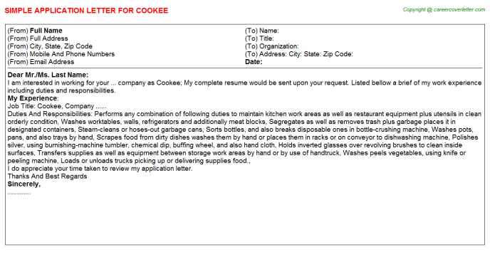 Cookee Application Letter Template