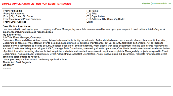 Event Manager Application Letter Template