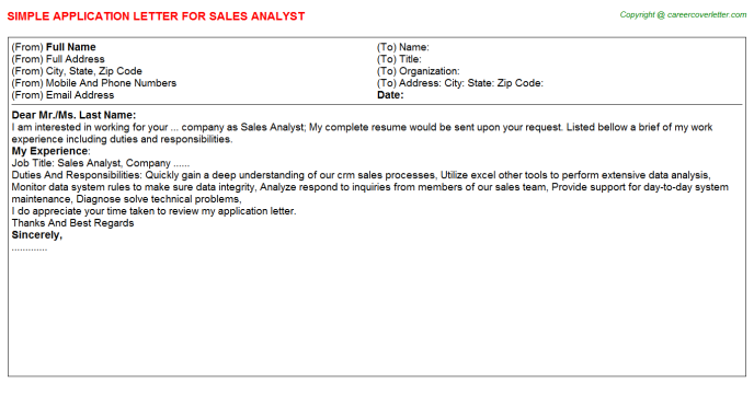 Sales Analyst Application Letter Template