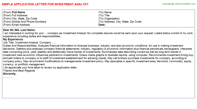 Investment Analyst Application Letter Template