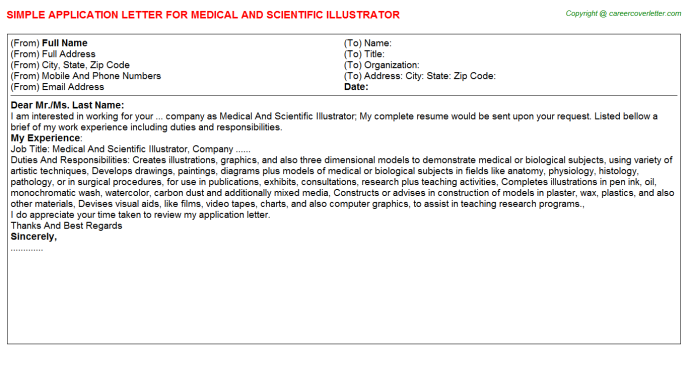 Medical And Scientific Illustrator Job Application Letter ...
