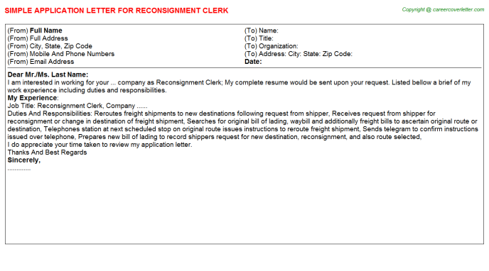 Reconsignment Clerk Job Application Letters