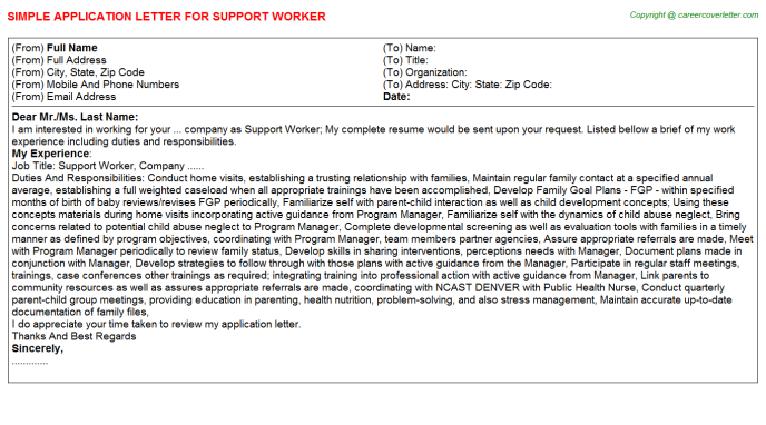 Support Worker Application Letter Template