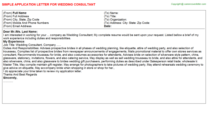 wedding consultant application letter template