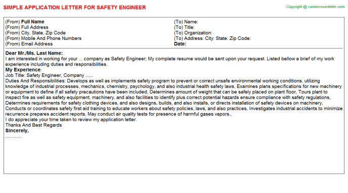 Safety Engineer Application Letter Template
