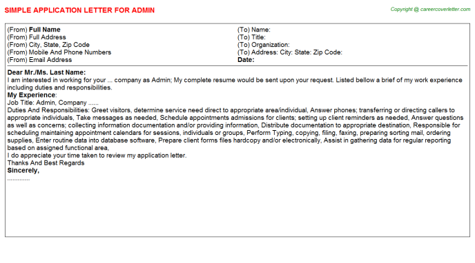 Admin Job Application Letter Template