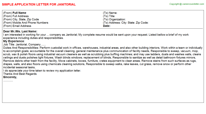 Janitorial Job Application Letter Template