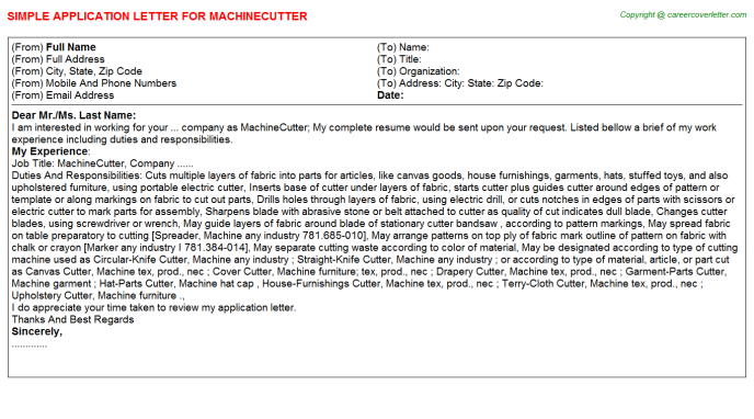 Machinecutter Job Application Letter Template