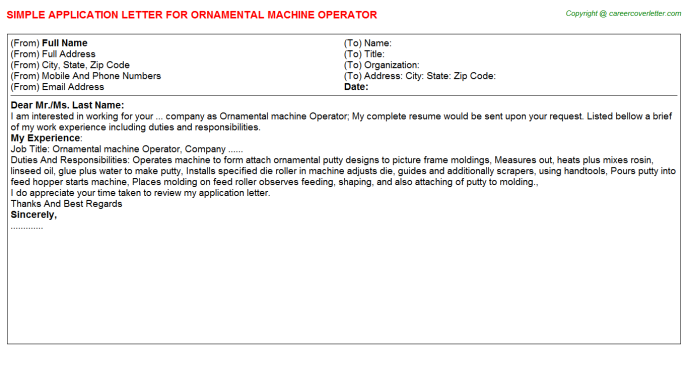 ornamental machine operator application letter template