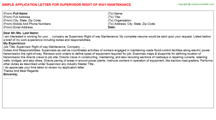 Supervisor Right Of Way Maintenance Application Letter Template