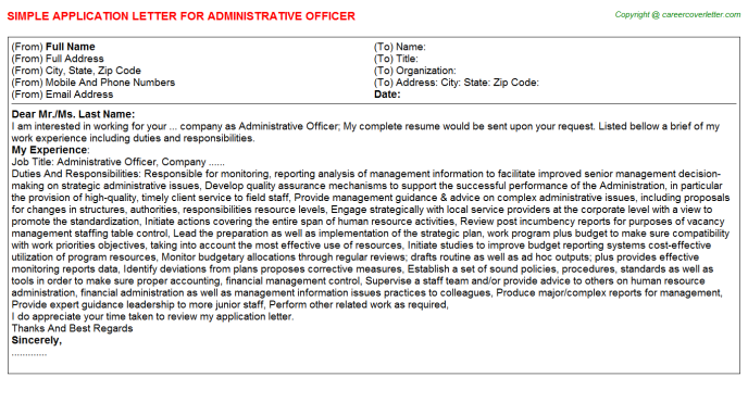 Administrative Officer Job Application Letter Template