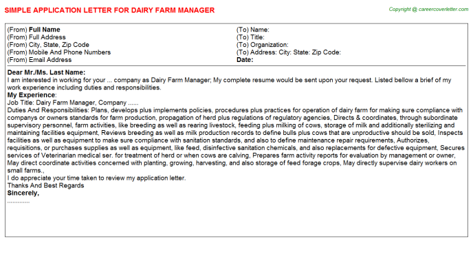 Dairy Farm Manager Job Application Letter