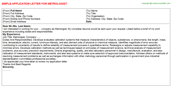 Metrologist Application Letter Template
