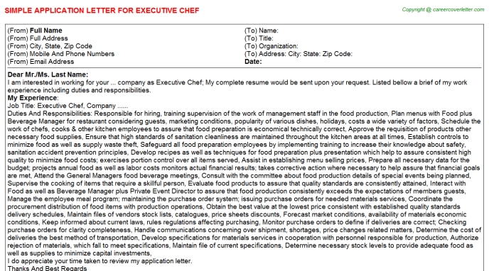 Executive Chef Job Application Letter Template
