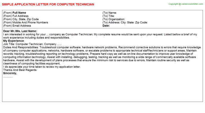 Computer Technician Application Letter Template