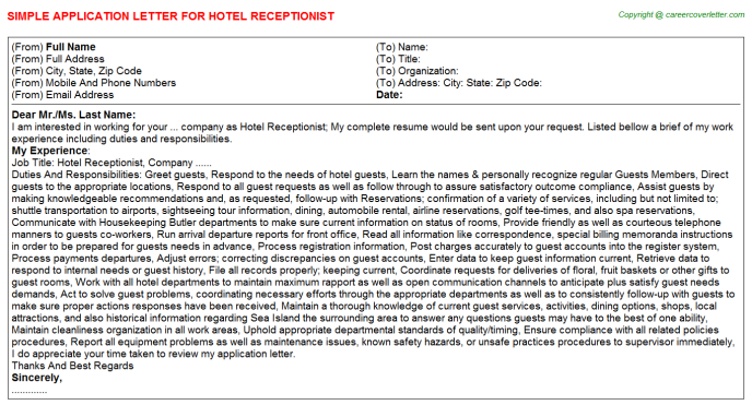 Hotel Receptionist Application Letter Template