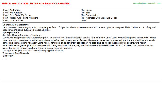 bench carpenter application letter template