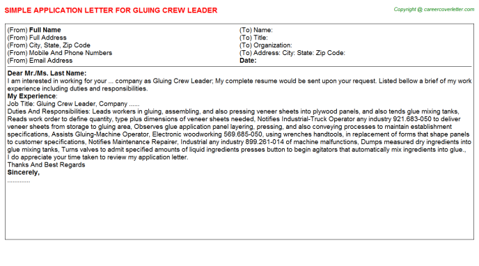 Gluing Crew Leader Job Application Letter Template