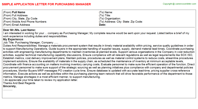 Purchasing Manager Job Application Letter Template
