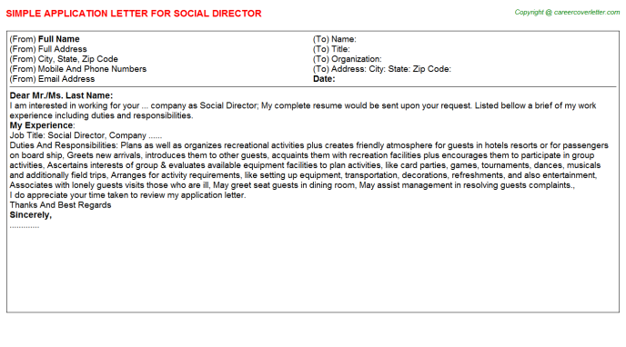 Social Director Application Letter Template
