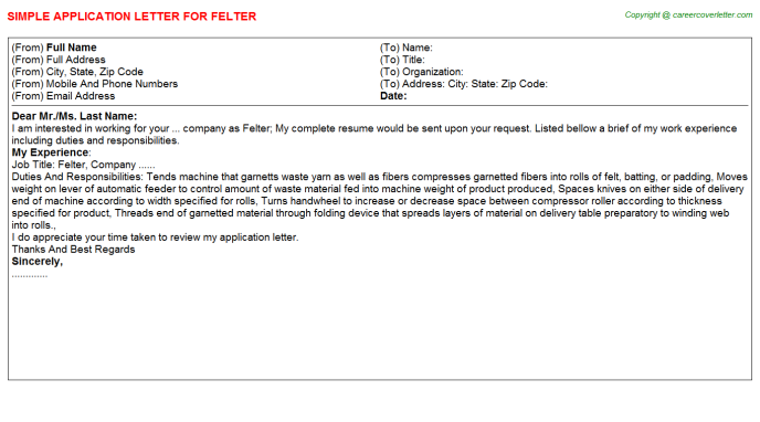 Felter Application Letter Template