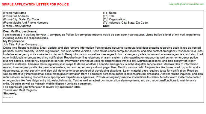 Police Job Application Letter Template