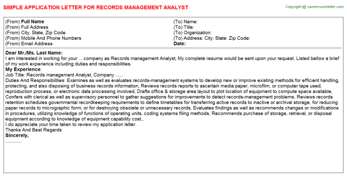 Records management analyst job application letter (#1825)