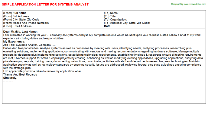 Systems Analyst Application Letter Template