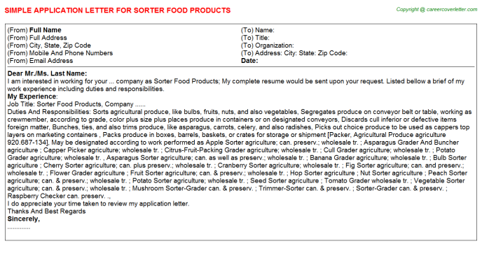 sorter food products application letter template