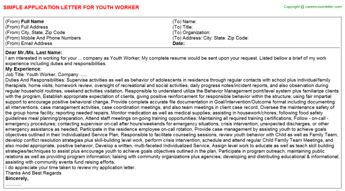 Youth Worker Application Letter Template